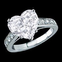 Engagement Ring - Heart Shape Diamond Cathedral Engagement Ring with channel round diamonds Set 0.21 tcw. In 14K White Gold - ES140HS
