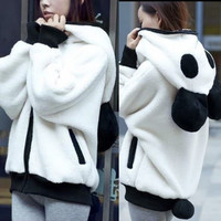 Women Cute Zip-up Panda Ears Detachable Tail Hoodie Outwear Sweat Kigurumi Top
