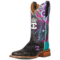 Women's Cinch Queenism Marbled Black-11in Cowhide Top Cowgirl Boots