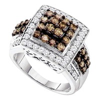 10kt White Gold Women's Round Cognac-brown Color Enhanced Diamond Square Cluster Ring 1-1/2 Cttw - FREE Shipping (US/CAN)
