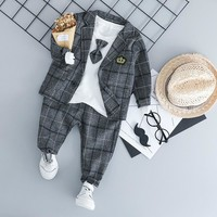 HYLKIDHUOSE Baby Boy Clothing Sets Male Children Clothes Suits Kid Gentleman Style Coats T Shirt Pants Grid Infant Clothes