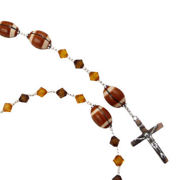 First Communion Football Rosary with Swarovski Crystals & Sterling Silver Cross- Choose Colors