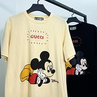 GUCCI x Disney Summer Couple Leisure Mickey Mouse Print Short Sleeve T-Shirt Top