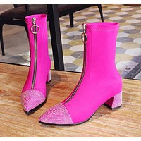 Women Fashion Stretch Front Zipper Rhinestone Ankle Boots
