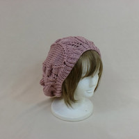Pink Slouchy Beanie Rose Lace Hat Baggy Knit Large Slouch Dread Hair