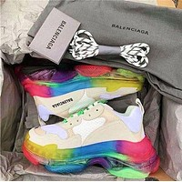 Balenciaga Triple S 3.0 retro-enhanced casual running shoes White colorful soles