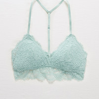 Aerie Romantic Lace Padded Triangle Bralette, Dusty Sage