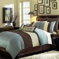 """Legacy Decor 8 Pieces Blue Beige Brown Luxury Stripe Comforter (90""""x92"""") Bed-in-a-bag Set Queen Size Bedding"""