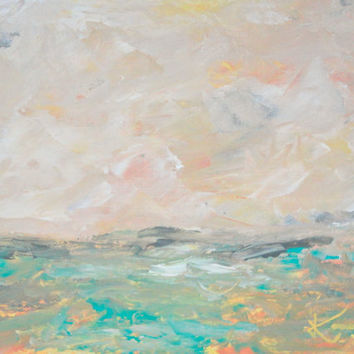 Landscape Painting 9x12 Original Acrylic Abstract Seascape Orange Turquoise Yellow Coastal Beach