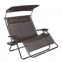 2-Person Gravity Free Recliner Lounge Chair, Pillow & Side Tray - Brown Jacquard