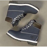 Timberland Rhubarb boots for men and women shoes waterproof Martin boots lovers Navy blue