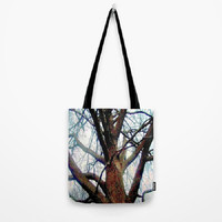 Fog, Tree, Sky, Haunted, Minimalist - Tote Bag - 3 Sizes Available - Baby Shower, Grocery, Beach, Busy Mom, Student - Made To Order - FWS#13