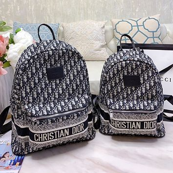 Dior fashion new canvas embroidery letters men and women zipper backpack school bag