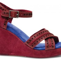 TOMS+ Oxblood Tooled Leather Women's Strappy Wedges