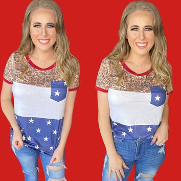Party Like Its 1776 Pocket Tee-Vintage Leopard and Stars