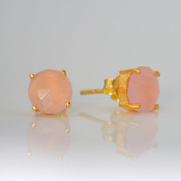 Faceted Round Pink Chalcedony Sterling Silver or Vermeil Gold prong set Stud Post Earrings - October Birthstone