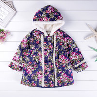 New Fashion Girl Winter Children Clothing Baby Outerwear Hoodie Winter Jackets For Girls Flower Thicker