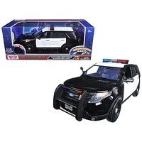 2015 Ford Police Interceptor Utility Black and White with Flashing Light Bar and Front and Rear Lights and 2 Sounds 1/18 Diecast Model Car by Motormax