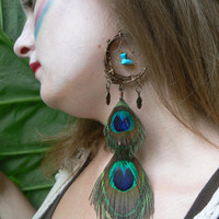 ONE dangle peacock feather dreamcatcher earring turquoise  peacock  in native american inspired  tribal boho belly dancer and hipster style