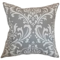 The Pillow Collection P18-PP-OZBORNE-STORME-C100 Malaga Gray 18 x 18 Patterned Throw Pillow
