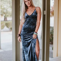 Sarita Crushed Velvet Maxi Dress - Navy Blue