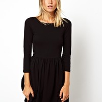 ASOS Skater Dress With Slash Neck And 3/4 Sleeves
