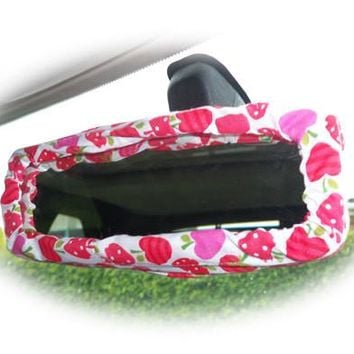 Pink and red Strawberry and apples cotton car rear view interior mirror cover