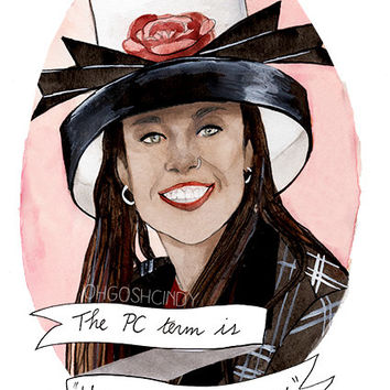 Dionne Davenport Clueless watercolor portrait illustration PRINT Stacey Dash ''Hymentally challenged''