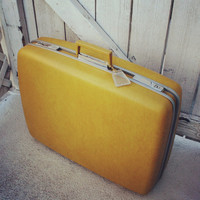 """Vintage Yellow Gold Suitcase by Samsonite- Royal Traveller """"Medalist"""" Hard Shell"""