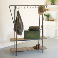 Kalalou Wood and Iron Coat Rack or Mudroom Bench CLL1361