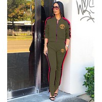 Timerland New Popular Women Casual Round Collar Top Pants Set Two-Piece green