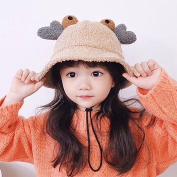 Children's Hat Autumn And Winter 1-3 Years Old Baby 2 Cute Super Cute Fisherman Hat Boys And Girls Plush Crab Pot Hat Baby Hat