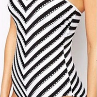 Black And White Stripe One Piece Swimsuit