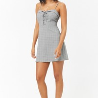 Lace-Up Glen Plaid Mini Dress
