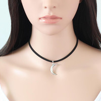 Fashion Black Rope Crescent Moon Choker Necklace for  Birthday Gifts PSXL001
