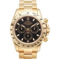 Rolex Daytona Yellow Gold Bracelet Watch, Black Index Dial