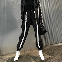 Women Loose Casual Multicolor Stripe Windproof Leisure Pants Trousers Sweatpants