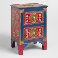 Hand Painted Peacock Storage Cabinet