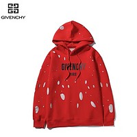 Givenchy New fashion letter print couple high quality hole hooded long sleeve sweater Red