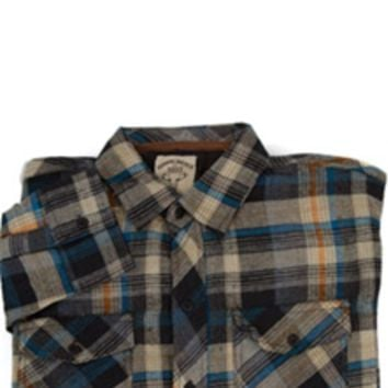 1897 Button Down Plaid Flannel Shirt in Stone GLXC8285A