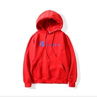 Champion couple sets the head sweater couple models Plus velvet hooded sweater simple printing class service White