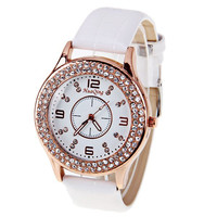 White Leather Waterproof Quartz Watch with Rhinestones