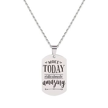 Solid Stainless Steel Inspirational Tag Necklace in Silver by Pink Box