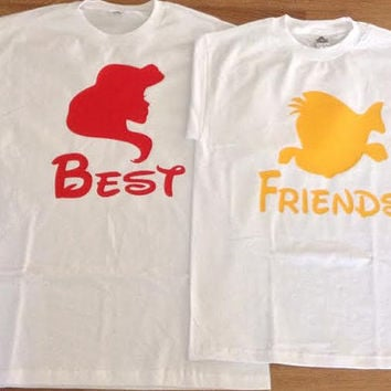 Free/Fast Shipping for US Ariel & Flounder Best friends Shirts/ Tank Tops