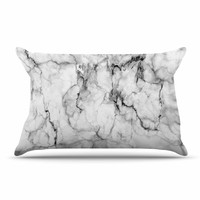 "Chelsea Victoria ""Marble No 2 "" Black Modern Pillow Case"