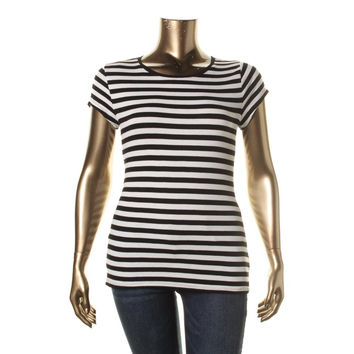 INC Womens Ribbed Knit Striped Pullover Top