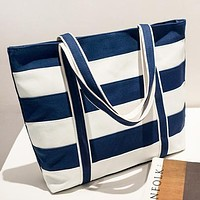 Fashion New Leather Shopping Leisure Shoulder Bag Handbag Women Blue&White