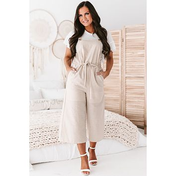 Destined To Meet Linen Jumpsuit (Taupe Stripe)