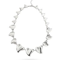 Stainless Steel & White Heart Necklace