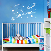 Vinyl Decals Personalized Name  Space Rocket Planet Star  Home Wall  Decor Removable Sticker Mural L562  Unique Design Baby Boy Nursery Room